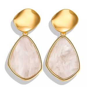 Gold and pink stone earrings
